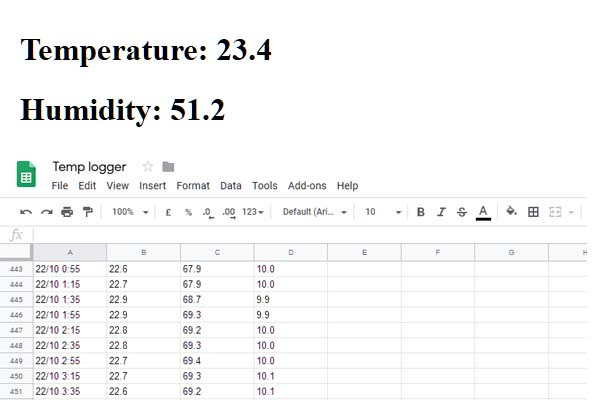 temperature logger with Google Sheets website
